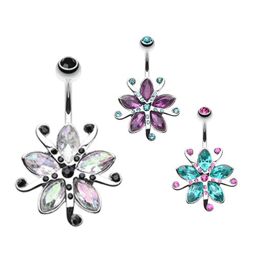 Lily Bloom Navel Ring - Fixed (non-dangle) Belly Bar. Navel Rings Australia.
