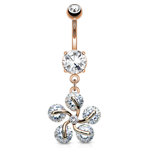 Eiffel Tower Dangling 14k Belly Piercing Ring
