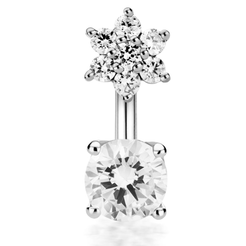 18K White Gold Genuine Diamond Floweret Topped Belly Ring by Maria Tash - Fixed (non-dangle) Belly Bar. Navel Rings Australia.
