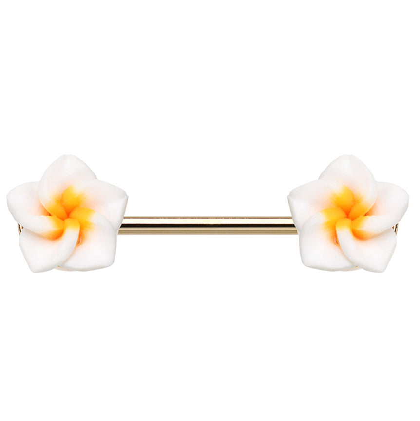 Springtime Frangipani Nipple Ring in Gold - Nipple Ring. Navel Rings Australia.
