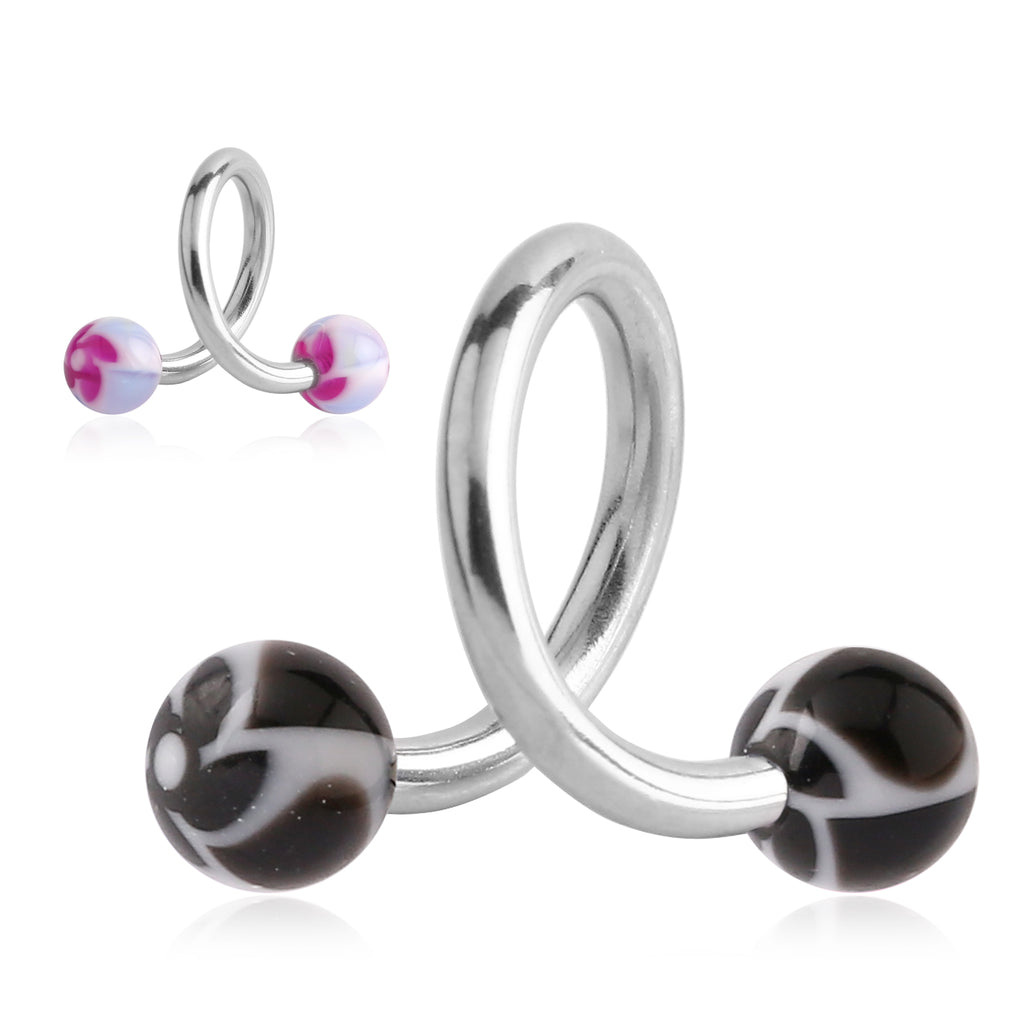 Flower Burst Spiral Twist Navel Bars - Spiral Twister Twistie. Navel Rings Australia.