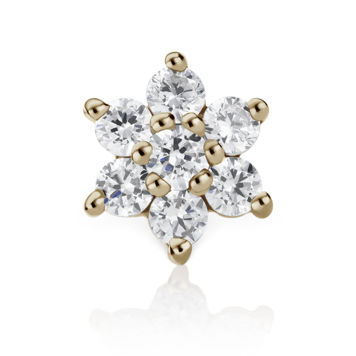 Earring. Navel Rings Australia. CZ Flower Earring by Maria Tash in 14K Yellow Gold. Flat Stud.