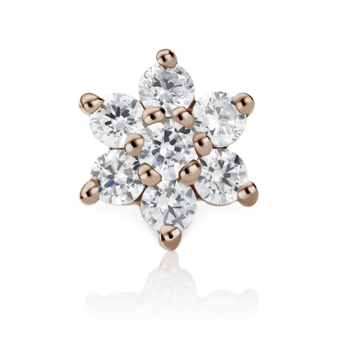 Earring. Cute Belly Rings. Diamond Flower Earring by Maria Tash in 18K Rose Gold. Flat Stud.