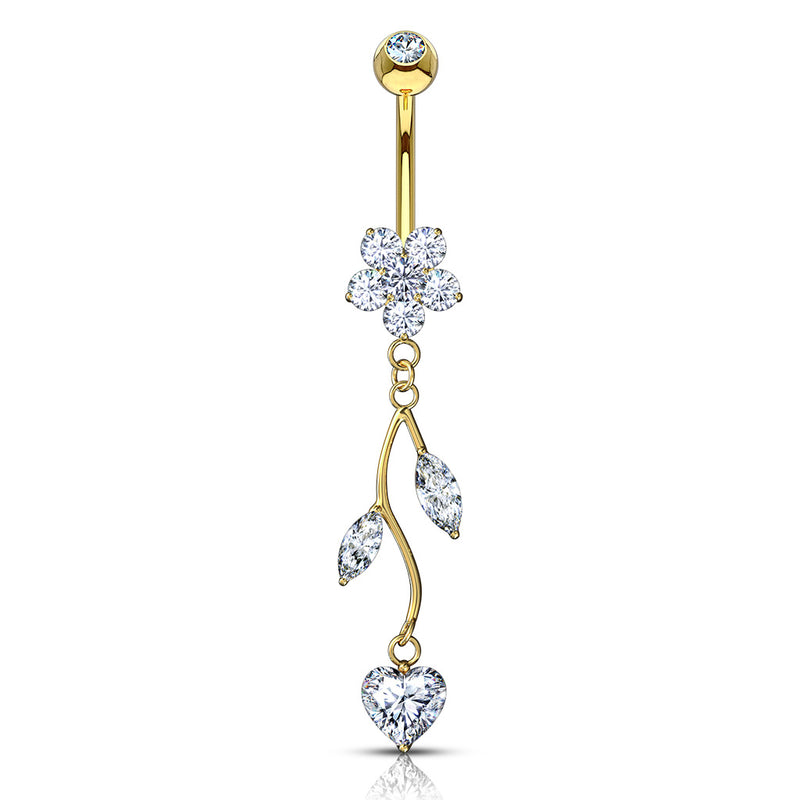 14K Solid Gold Love Vine Belly Ring - Dangling Belly Ring. Navel Rings Australia.