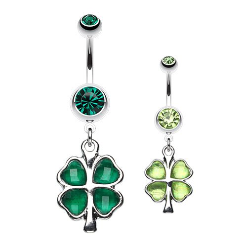 Lucky Charm Shamrock Belly Ring - Dangling Belly Ring. Navel Rings Australia.
