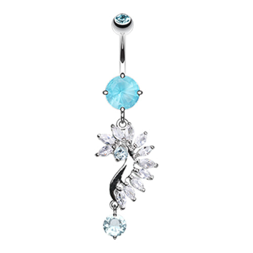 Dangling Belly Ring. High End Belly Rings. French Marquise Belly Bar
