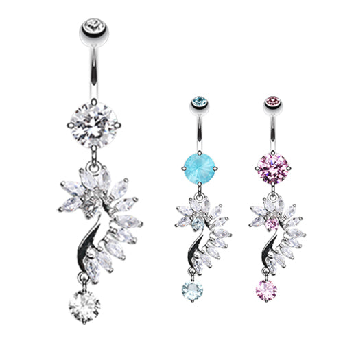 French Marquise Belly Bar - Dangling Belly Ring. Navel Rings Australia.
