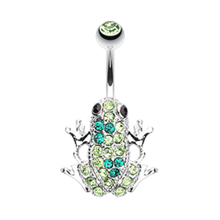 Fixed (non-dangle) Belly Bar. Navel Rings Australia. The Amazon Paved Frog Belly Bar