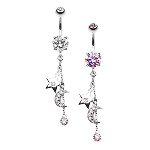 Galaxy Charmer Belly Dangle - Dangling Belly Ring. Navel Rings Australia.