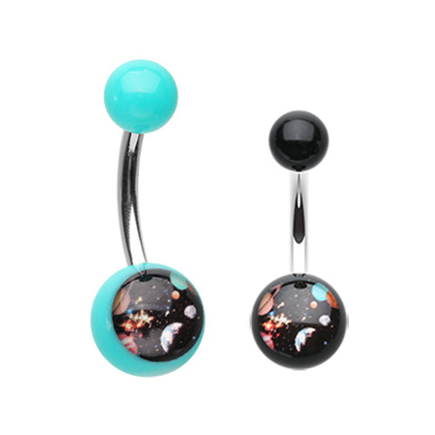 Basic Curved Barbell. Quality Belly Rings. Dazed Galaxy Acrylic Navel Ring