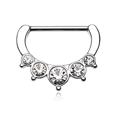 Nipple Ring. Belly Rings Australia. Classic Bezel Pave Nipple Clicker