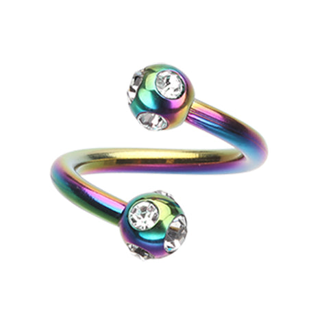 Spiral Twister Twistie. Quality Belly Rings. Royale Metallics Multi Gem Spiral Twisters