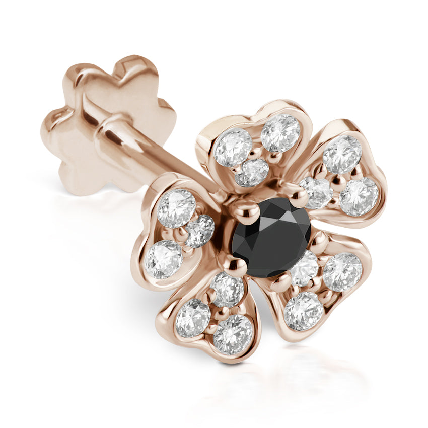 Black Diamond Pansy Earring by Maria Tash in 18K Rose Gold. Threaded Stud. - Earring. Navel Rings Australia.
