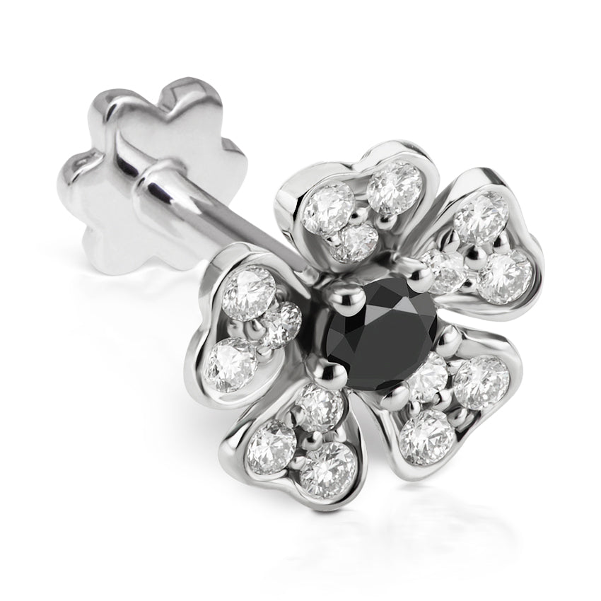 Black Diamond Pansy Earring by Maria Tash in 18K White Gold. Threaded Stud. - Earring. Navel Rings Australia.