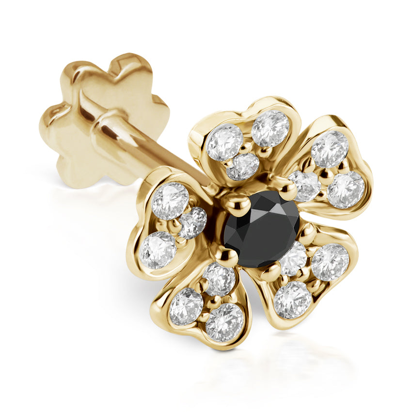Black Diamond Pansy Earring by Maria Tash in 18K Gold. Threaded Stud. - Earring. Navel Rings Australia.