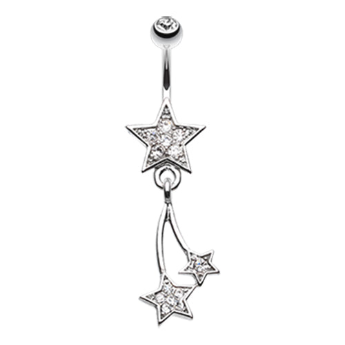 Dangling Belly Ring. Quality Belly Rings. Twinkled Galaxy Star Belly Bar