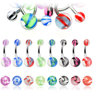 Colour Blow Out Acrylic Belly Bar - Basic Curved Barbell. Navel Rings Australia.