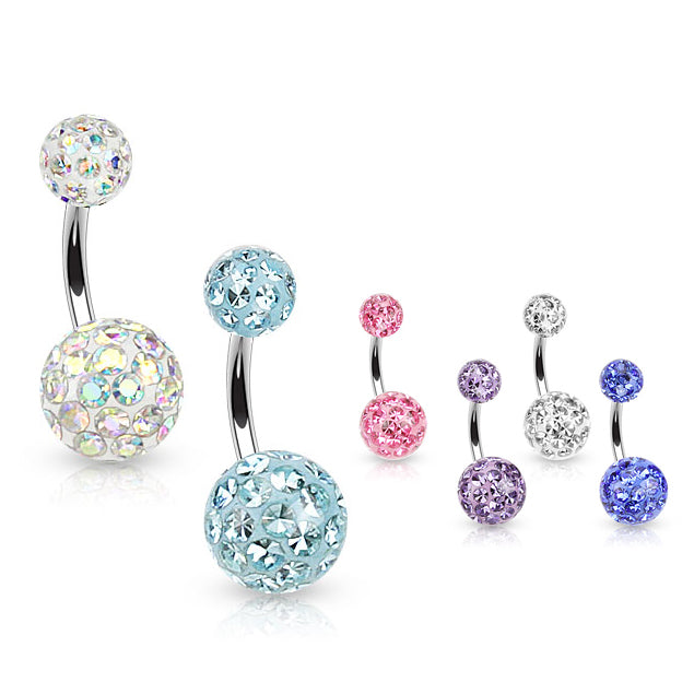 Glazed Motley™ Belly Rings - Basic Curved Barbell. Navel Rings Australia.