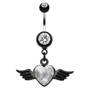 Gothic Glitter Angel Heart Navel Ring - Dangling Belly Ring. Navel Rings Australia.