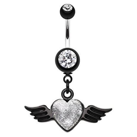 Gothic Glitter Angel Heart Navel Ring