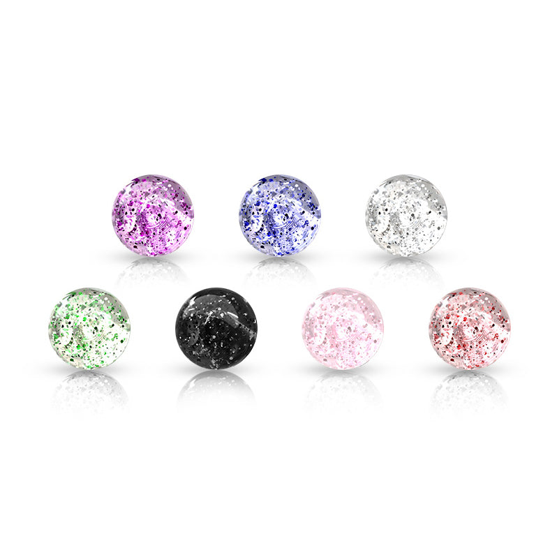 6mm Acrylic Glitter Balls - Replacement Ball. Navel Rings Australia.