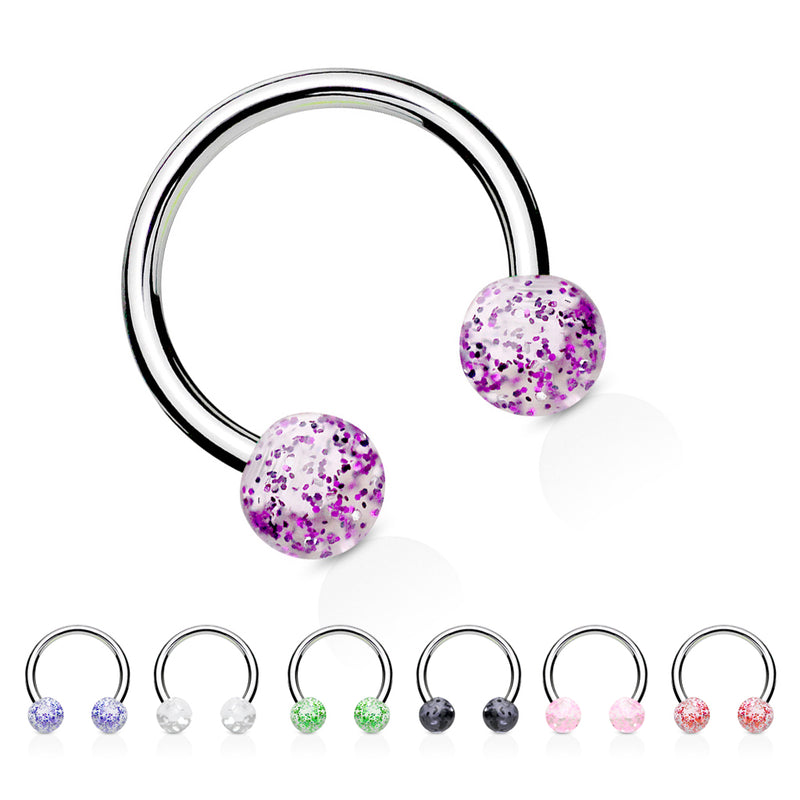 Glitter Acrylic Horseshoe Body Jewellery - Circular Barbell / Horse Shoe. Navel Rings Australia.