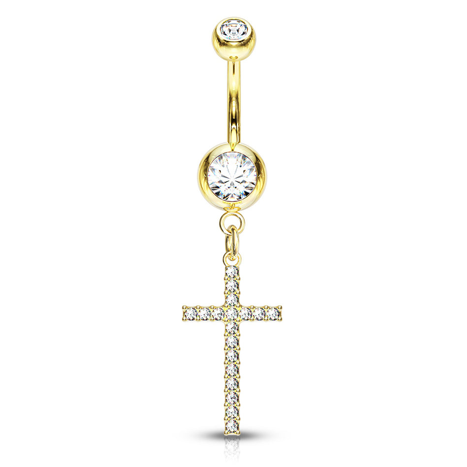Adriel's Glittering Cross Belly Ring in Gold - Dangling Belly Ring. Navel Rings Australia.