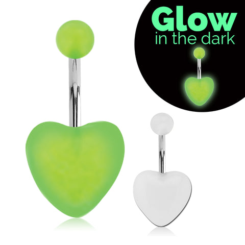Basic Curved Barbell. Cute Belly Rings. GLOW in the Dark Heart Navel Ring