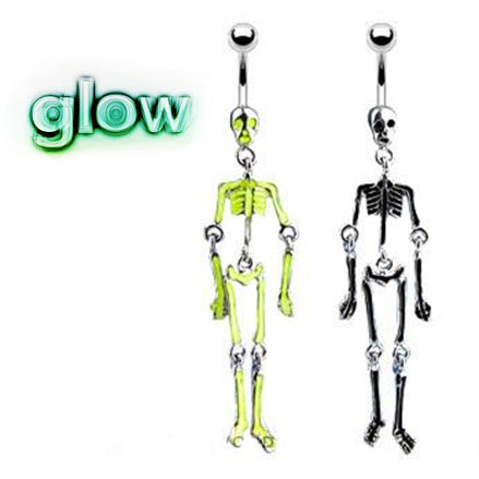 Glow in the Dark Moving Skeleton Belly Ring - Dangling Belly Ring. Navel Rings Australia.