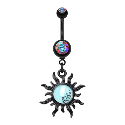 Sunburst Glow in The Dark Belly Dangle - Dangling Belly Ring. Navel Rings Australia.