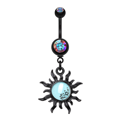 Dangling Belly Ring. Belly Bars Australia. Sunburst Glow in The Dark Belly Dangle