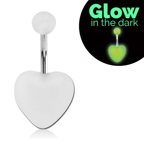 GLOW in the Dark Heart Navel Ring - Basic Curved Barbell. Navel Rings Australia.
