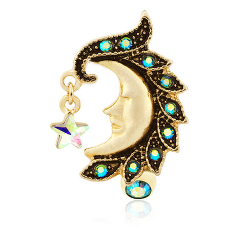 Reverse Top Down Belly Ring. Quality Belly Bars. Golden Bohemian Moon Belly Piercing Ring