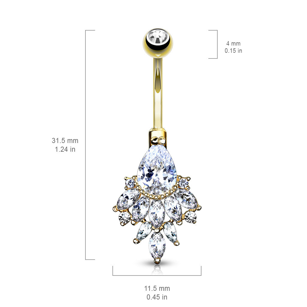 Fixed (non-dangle) Belly Bar. High End Belly Rings. 14K White Gold Razzle Dazzle Belly Ring