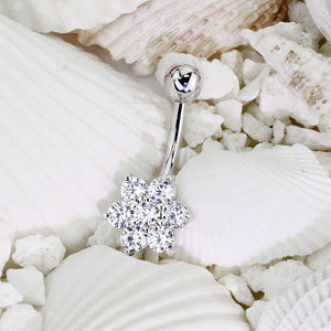 14K White Gold Flower Belly Ring - Fixed (non-dangle) Belly Bar. Navel Rings Australia.