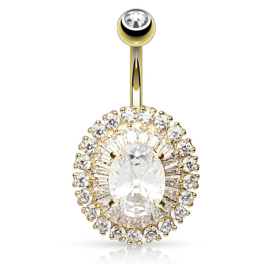 Golden Dramatic Diamante Belly Ring - Fixed (non-dangle) Belly Bar. Navel Rings Australia.