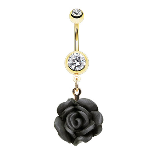 Dangling Belly Ring. Quality Belly Rings. Kissed by a Rose Belly Dangle