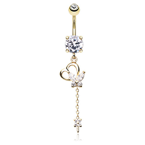 Golden Fluttering Heart Belly Dangle - Dangling Belly Ring. Navel Rings Australia.