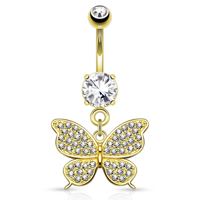 Micro Paved Butterfly 14K Gold Belly Piercing Ring - Dangling Belly Ring. Navel Rings Australia.