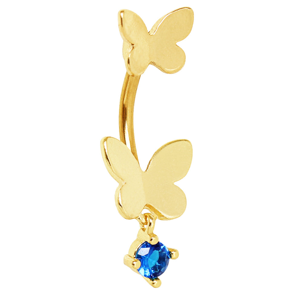 Split Spinal Belly Bar. Buy Belly Rings. Comino Blue Split Butterfly Belly Bar