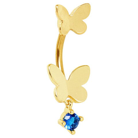 Comino Blue Split Butterfly Belly Bar - Split Spinal Belly Bar. Navel Rings Australia.