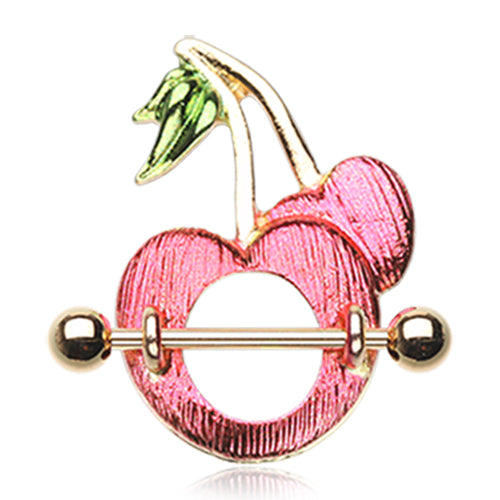 Gold Sweet Cherries Nipple Shield Ring - Nipple Ring. Navel Rings Australia.