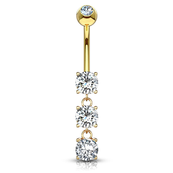 Classic 14K Gold Trio Belly Ring - Dangling Belly Ring. Navel Rings Australia.