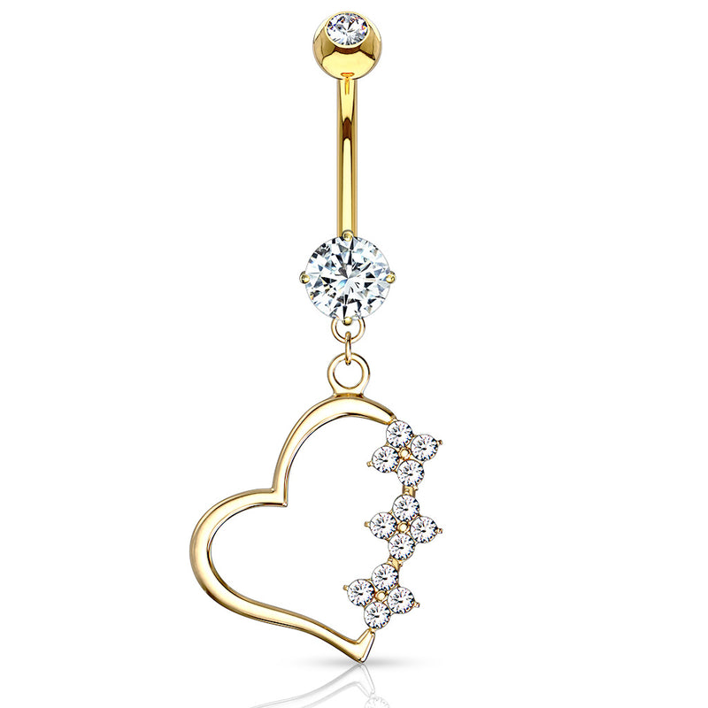 Diamanté Heart Belly Dangle in 14K Gold - Dangling Belly Ring. Navel Rings Australia.