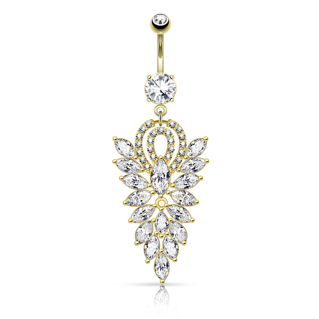 Golden Glitz Blitz Belly Dangle - Dangling Belly Ring. Navel Rings Australia.