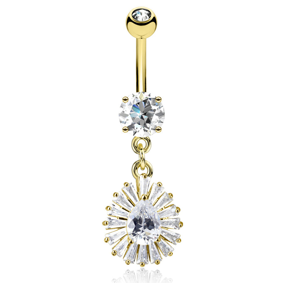 Diamanté Fusion Belly Dangle in Yellow Gold - Dangling Belly Ring. Navel Rings Australia.