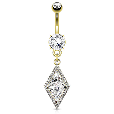 Dangling Belly Ring. Quality Belly Bars. Diamonds Forever Belly Drop in Gold