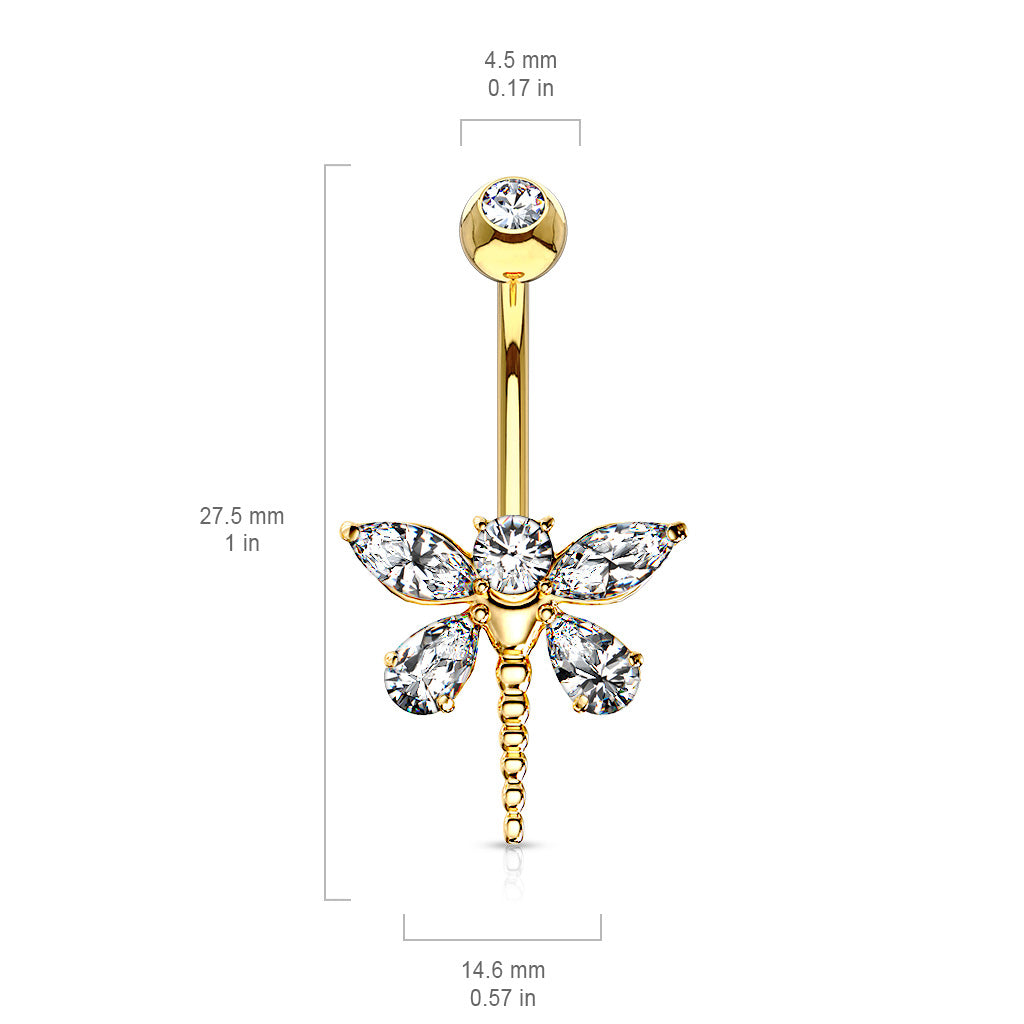Fixed (non-dangle) Belly Bar. High End Belly Rings. Marquise Dragonfly Belly Bar in 14K Gold