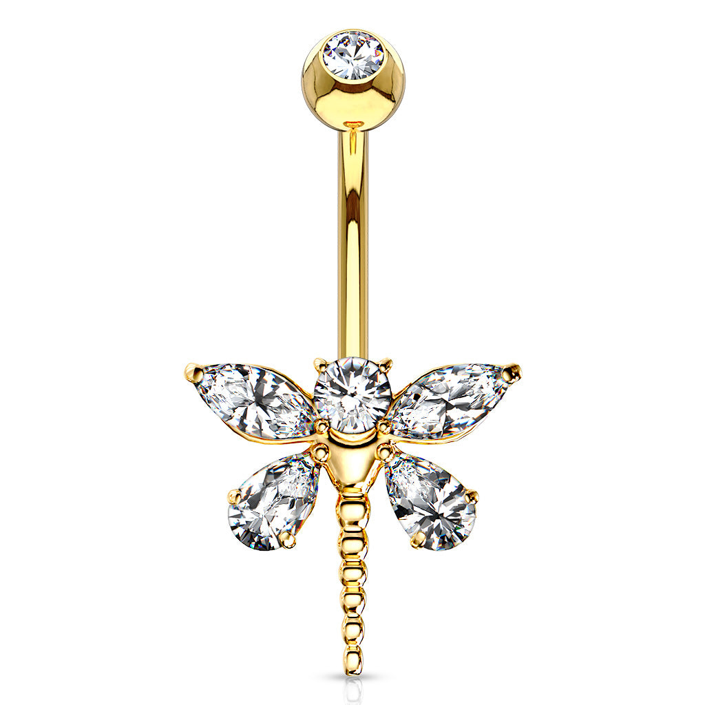 Marquise Dragonfly Belly Bar in 14K Gold - Fixed (non-dangle) Belly Bar. Navel Rings Australia.