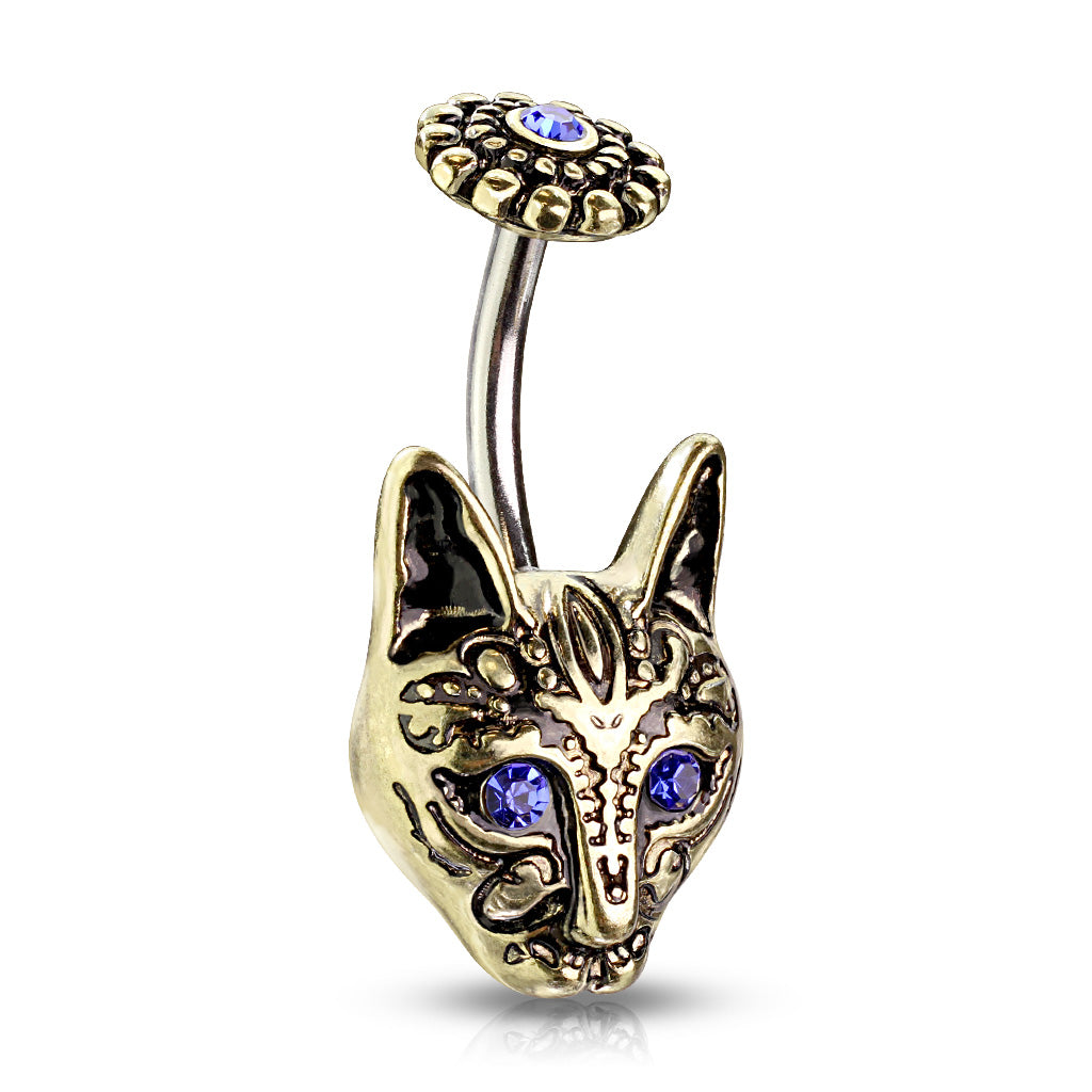 Egypts Bastet Cat Belly Bar in Gold - Fixed (non-dangle) Belly Bar. Navel Rings Australia.